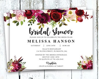 Bridal Shower Invitation, Floral Bridal Shower Invitation, Boho Bridal Shower