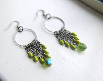 Hoop Statement Earrings Chartreuse and Grass Green Czech Glass  - Peacock Feathers.