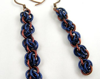 Chainmaille Earrings, Blue and Brown Dangle Earrings, Handmade Colorful Chainmail Jewelry
