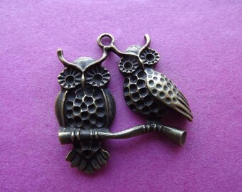 1 charm/pendant bronze metal owls couple