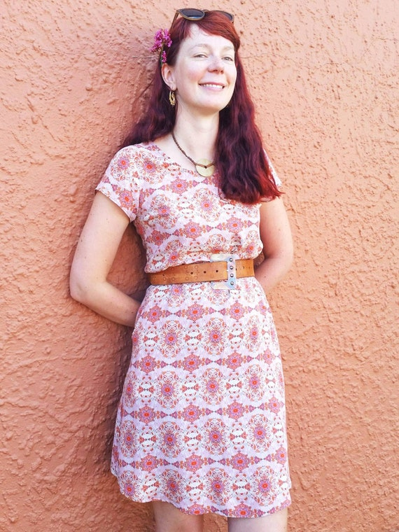 The Ziggy loose fit tunic dress with pockets in pink kaleidoscope print
