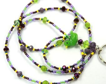 GREEN DUCK - Beaded Badge Holder, Beaded Lanyard, Green Badge Holder, Duck Badge Holder, Duck lanyard, Duck Jewelry