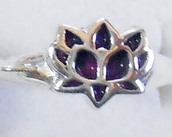 Size 7 Purple Turquoise Lotus  Sterling Silver Ring New Vintage Wholesale