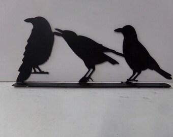3  Raven Crow Mailbox Topper Metal Wildlife Yard Art Silhouette
