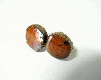 Ancient juniper wood sterling silver stud earrings. Sterling silver ear posts.