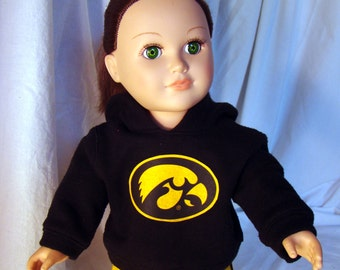 """American Girl or American Boy Style 18"""" Dolls fit these University of Iowa Hawkeye and Denver Broncos Hoodie & Sweatpants Doll Outfits!"""