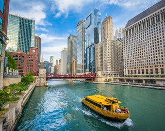 A water taxi on the Chicago River in Chicago, Illinois. Photo Print, Metal, Canvas, Framed.