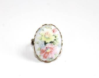 Floral Ring, Porcelain Ring, Pink Floral Ring, Flower Ring, Vintage Ring, Vintage Floral Ring, Silver Floral Ring, Silver Frame Ring