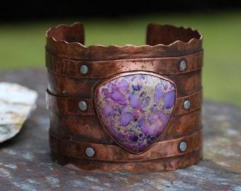 Imperial Purple Jasper Copper Riveted Cuff Bracelet - Hellacious Sunset