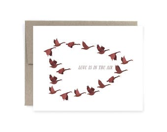 Canadian Goose Love is in the air card, Unique Wedding Card, Valentine's Day Card, Canadian Card