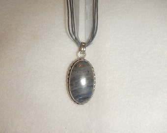 Oval Blue-Gray Sodalite pendant necklace set in .925 sterling silver (P374)