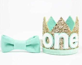 Boy Birthday Party Hat   First Birthday Glitter Crown   1st Birthday Photo Prop   Pale Gold + Mint ONE