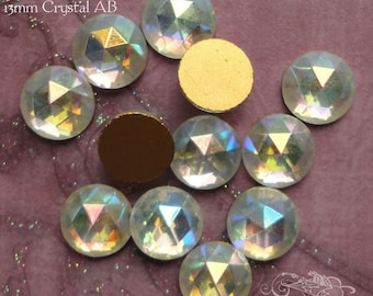 Vintage Cabochons - 13 mm Facet Crystal AB -  6 West German Faceted Glass Stones