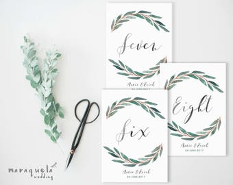 Eucalyptus BRANCHES Wedding Seating Number Tables,CUSTOM printable.Watercolor seating Wedding numbers,green leaves,elegant style,Download