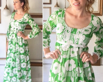 Vintage 60s Green White Floral Maxi Dress - Free Ship