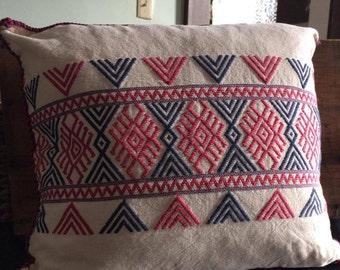 pillow sham (purple/pink aztec design on natural cotton)