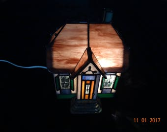 Stained glass night light house