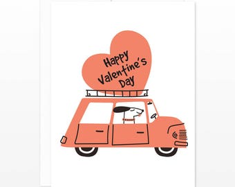 Cute Dog Driver Happy Valentine's Day Card - Vintage Retro Design - Funny Dog Love Card - Card for Boyfriend, Girlfriend, Friendship card