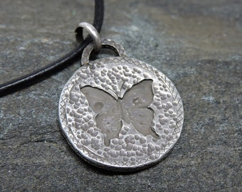 Butterfly Pendant, Sterling Silver Necklace, Butterfly Talisman, Made in NH, Totem, Transformation, Hope, Nature Jewelry, Butterfly Medicine