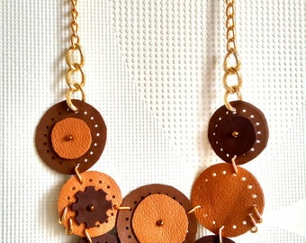 Leather necklace, Brown necklace, Steampunk jewelry, Gold chain necklace, Statement necklace, Circle necklace,Funky necklace,Natural leather