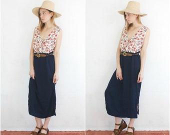 Silk Navy Maxi Skirt // Vintage Royal Blue Long Flowing Navy Blue High Waist Basic Minimalist Slit Textured Satin Flowing 90s Skirt