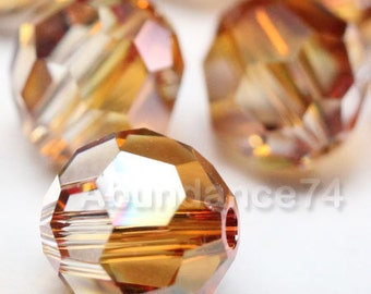 6 pcs Swarovski Elements - Swarovski Crystal Beads 5000 10mm Round Ball Beads - Crystal Copper