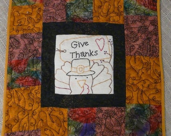 Thanksgiving Give Thanks lil stitchery PDF PATTERN  - Turkey tag wallhanging hand pilgrim embroidery primitive