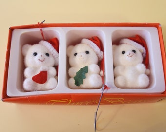 Vintage Flocked Bears Ornaments - Set of 3