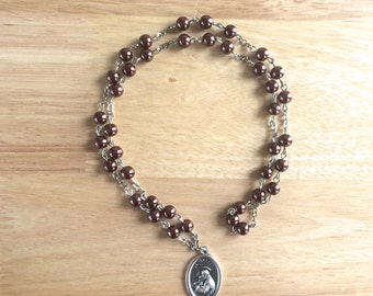 St. Anthony Handmade Catholic Chaplet with Brown Glass Pearl Beads