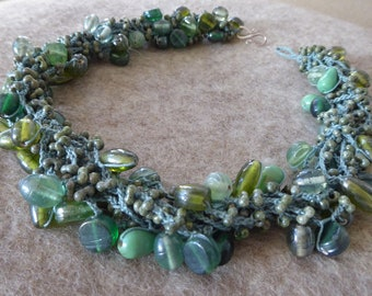 Handmade necklace crochet Technique green glass beads in various size closure 925 silver