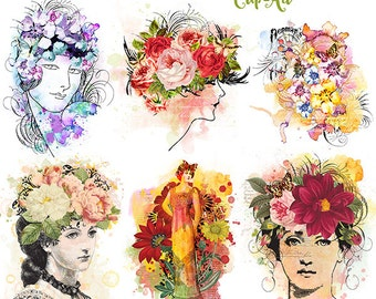 Vintage Floral Watercolor ladies clip-art, graphics, Stationery, Mixed Media, INSTANT DOWNLOAD, Lmd CU, cards, art journaling, scrapbooking