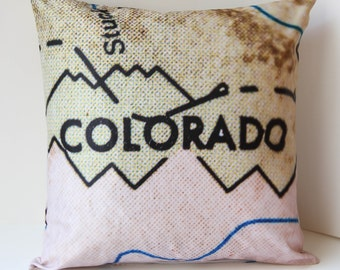 Colorado Pillow Cover, Colorado Gift, Pillow Cover, Colorado, Map Pillow Cover, Mountain Pillow Cover, Engagement Gift, Gift For Her