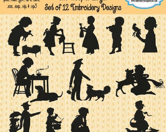Vintage Children Silhouette Shadows I Machine Embroidery Designs - Set of 12 Instant Download Sale