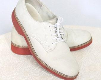 Men's Oxford Shoes Vintage Shoes 1980's Dexter Nubuck Preppy Rubber Sole Tie Shoes Size Men's 8M