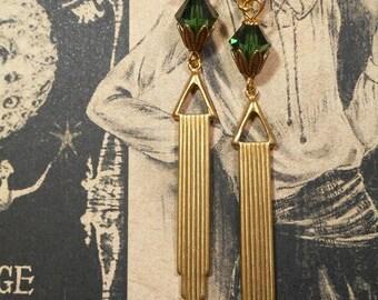 Miss Fisher Flapper Earrings - Art Deco Jewelry - Art Deco Earrings - 1920s Jewelry - Bridesmaid Gift - Downton Abbey Style Jewelry