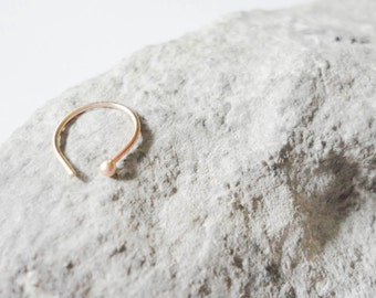 22g nose HOOP | 14k solid YELLOW gold ring | faux | fake | tragus | best seller