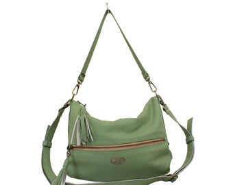 Pear Green PU Leather Valentina Hobo Bag Crossbody Purse Slouchy Bag