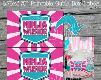 "Ninja Gable Box Labels | 3.75x5.75""pink and teal labels | editable printable digital download | Gymnastic Parkour | Instant Download"