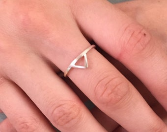 Small triangle stackable sterling silver ring