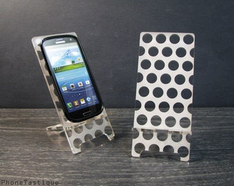 Samsung Galaxy S5 S4 S3 Android Smartphone Acryl Stand Docking Station Handy Dock Polka Dots