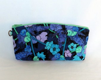 Zip Pouch - Purple Blue Green Flowers