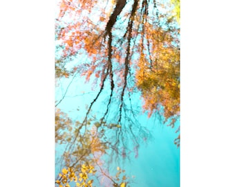 Water Reflection Print, Autumn Trees Photo, Abstract Photography, Orange Turquoise, Modern Decor, Tree Wall Art