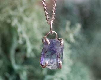 Raw Tanzanite crystal necklace - sterling silver, December birthstone necklace
