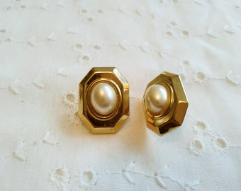 Vintage faux pearl button clip on earrings in gold tone