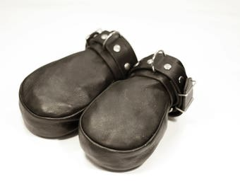 BDSM FIST MITTS, Short Fist Mitts, Leather Fist Mittens.