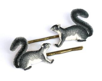 Squirrel Bobby Pins - Squirrel Jewelry - Woodland Jewelry - Squirrel - Animal Jewelry - Shrink Plastic - Squirrel Accessories - Illustration