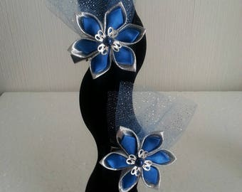 set of 2 barrettes of the satin flower and silver tulle and blue royal