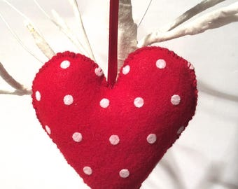 Crafty Christmas! Handmade Hand Stitched Stuffed Red Polka Dot Felt Heart Ornament/Shabby/Cottage/Country/Chic/Gift/Cute/Love