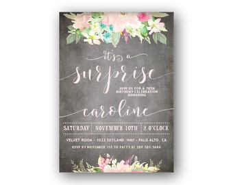 Surprise Birthday Invitations / 70th Surprise Birthday / Adult Birthday Parties 50th 60th 70th 80th or Any Age / Pastel Garden Theme