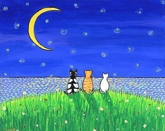 Three Cat Moon Night  Shelagh Duffett print
